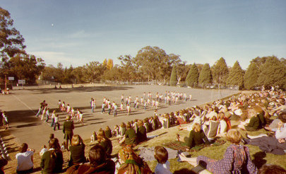 Image for photo: 1977 Netball courts from hill (site of Hub building).jpg
