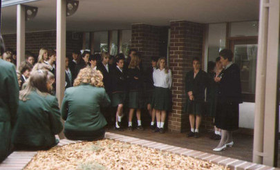 Image for photo: 1990 Mrs E McKay at opening of Senior Common Room.jpg